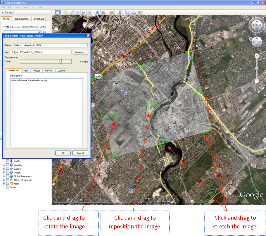 Georeferencing and digitizing scanned maps or aerial images