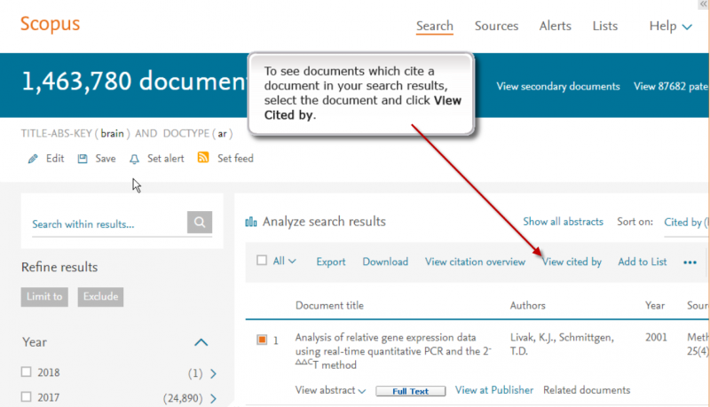 Scopus view reference list