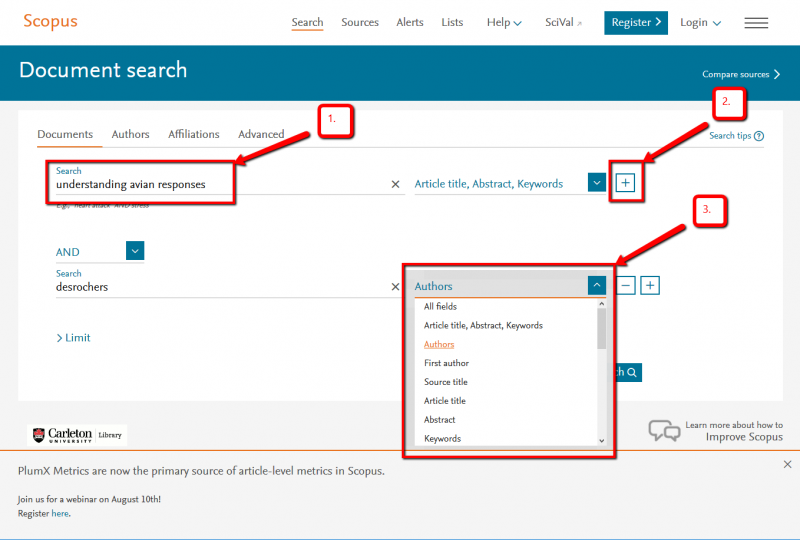 Image of Scopus search interface