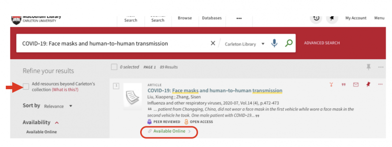 "Omni result highlighting the ""available online"" link and the ""add resources beyond Carleton's collection"""