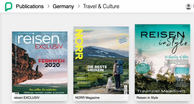 sample of German magazine titles from Press Reader