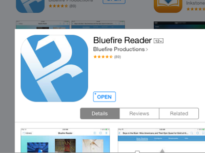 Downloading ebooks with the BlueFire Reader app on Apple (IOS