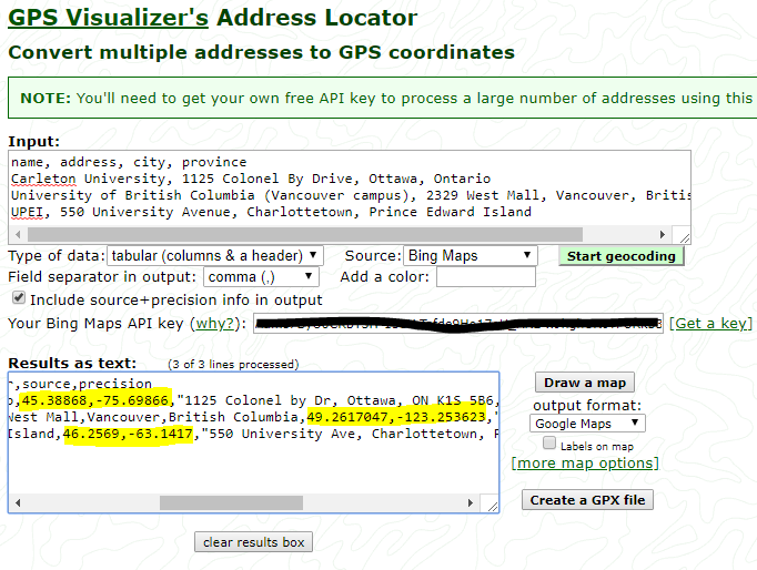 Geocoding: from addresses to geographic coordinates