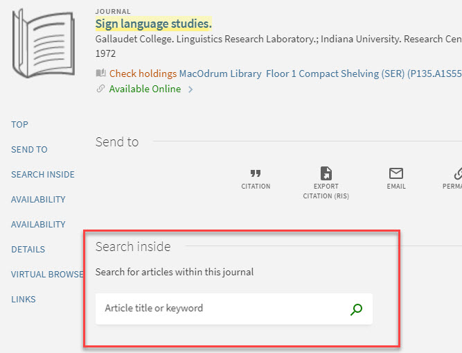 "Look for the ""Search within this journal"" area on the full record for a journal"